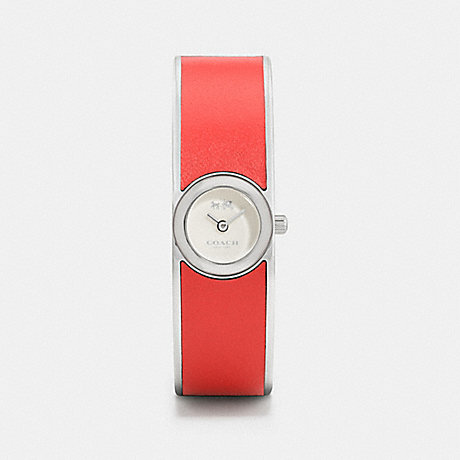 COACH SCOUT STAINLESS STEEL AND LEATHER BANGLE WATCH - CORAL - w6197