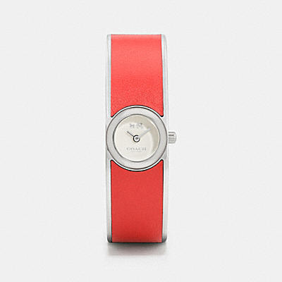 SCOUT STAINLESS STEEL LEATHER INLAY BANGLE WATCH