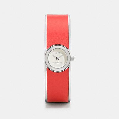 SCOUT 鑲嵌皮革不鏽鋼手環腕錶