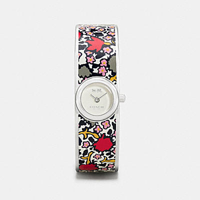 SCOUT STAINLESS STEEL PRINTED LEATHER INLAY BANGLE WATCH