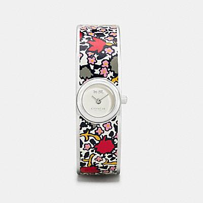 SCOUT 鑲嵌印花皮革不鏽鋼手環腕錶