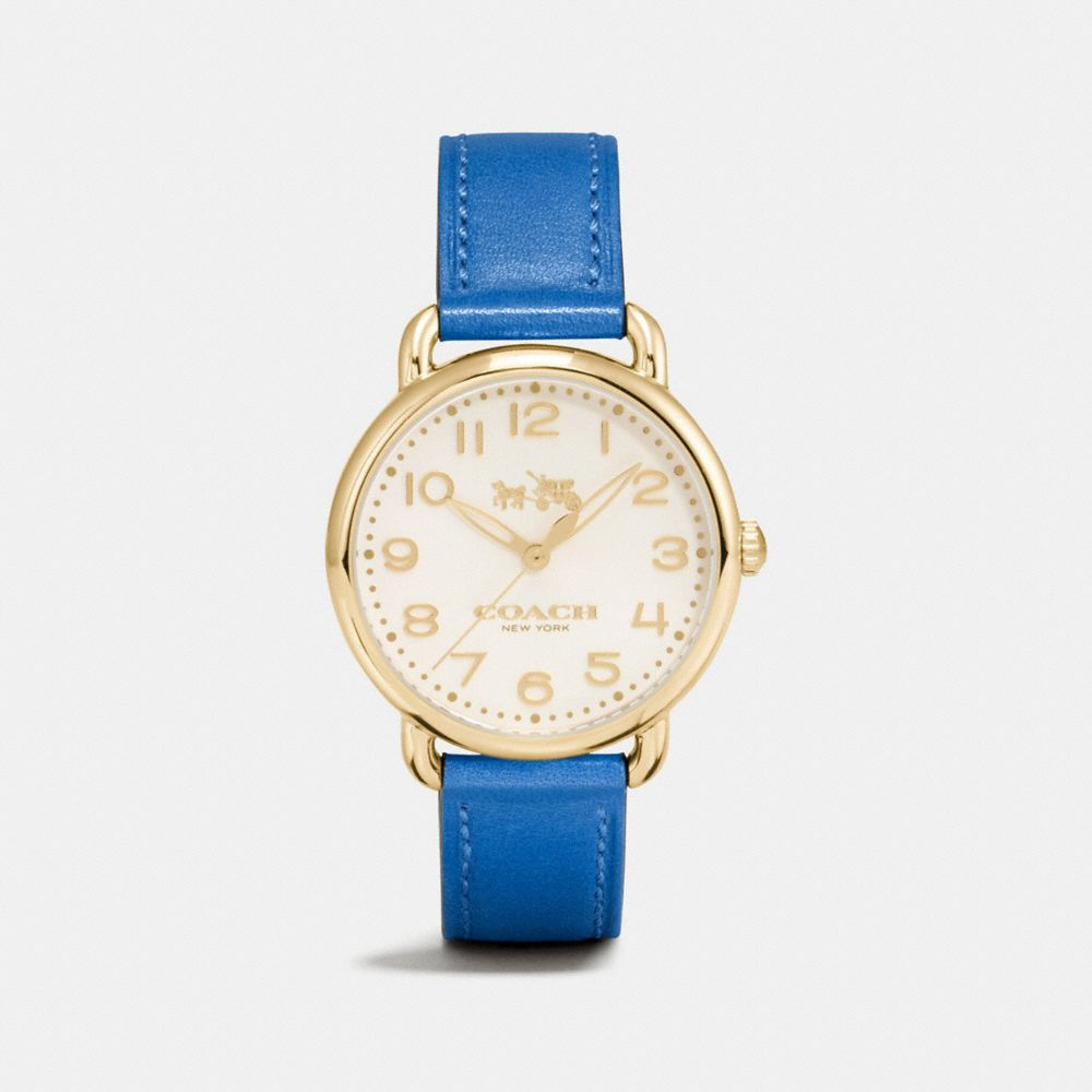 DELANCEY GOLD TONE SUNRAY DIAL LEATHER STRAP WATCH