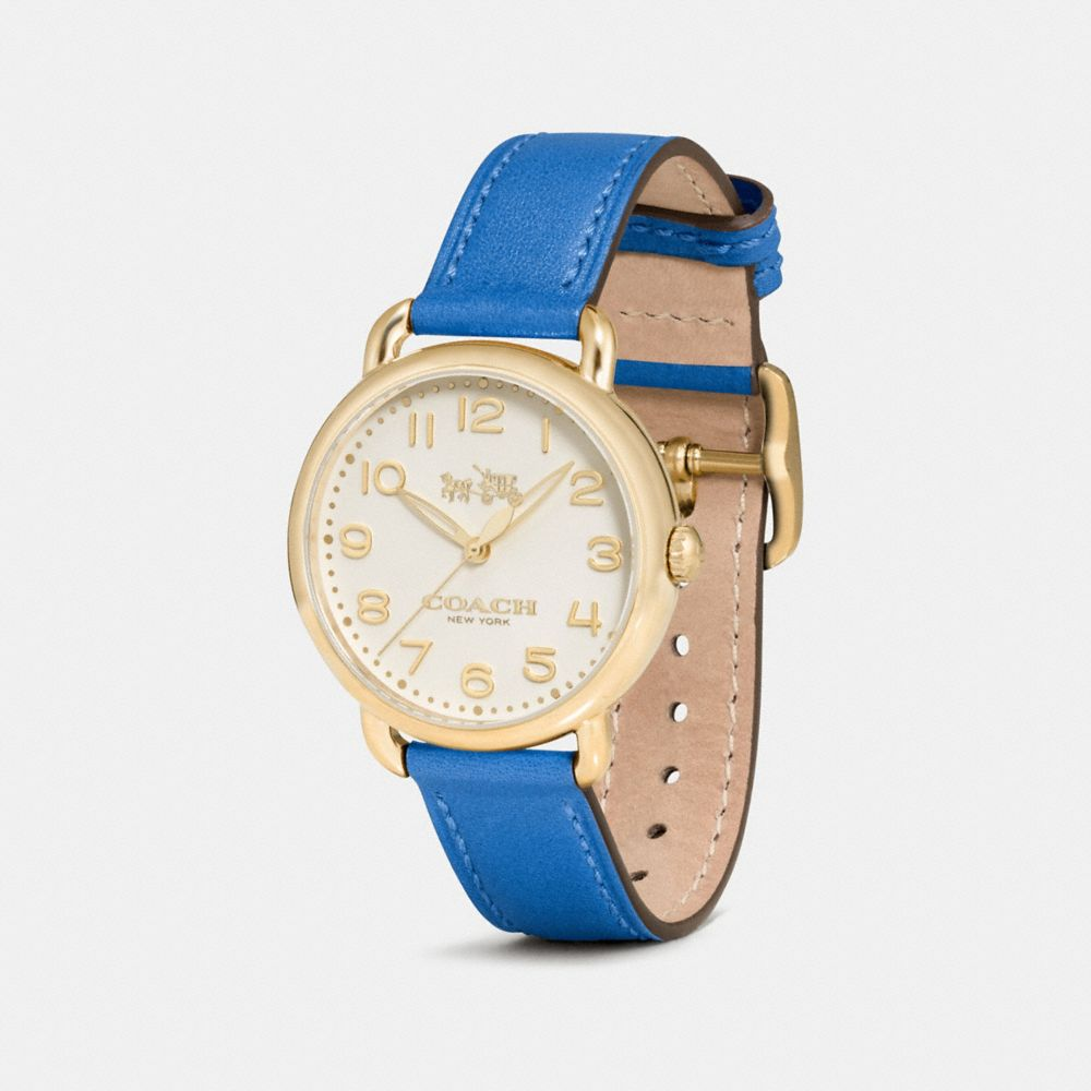 DELANCEY GOLD TONE SUNRAY DIAL LEATHER STRAP WATCH - Alternate View