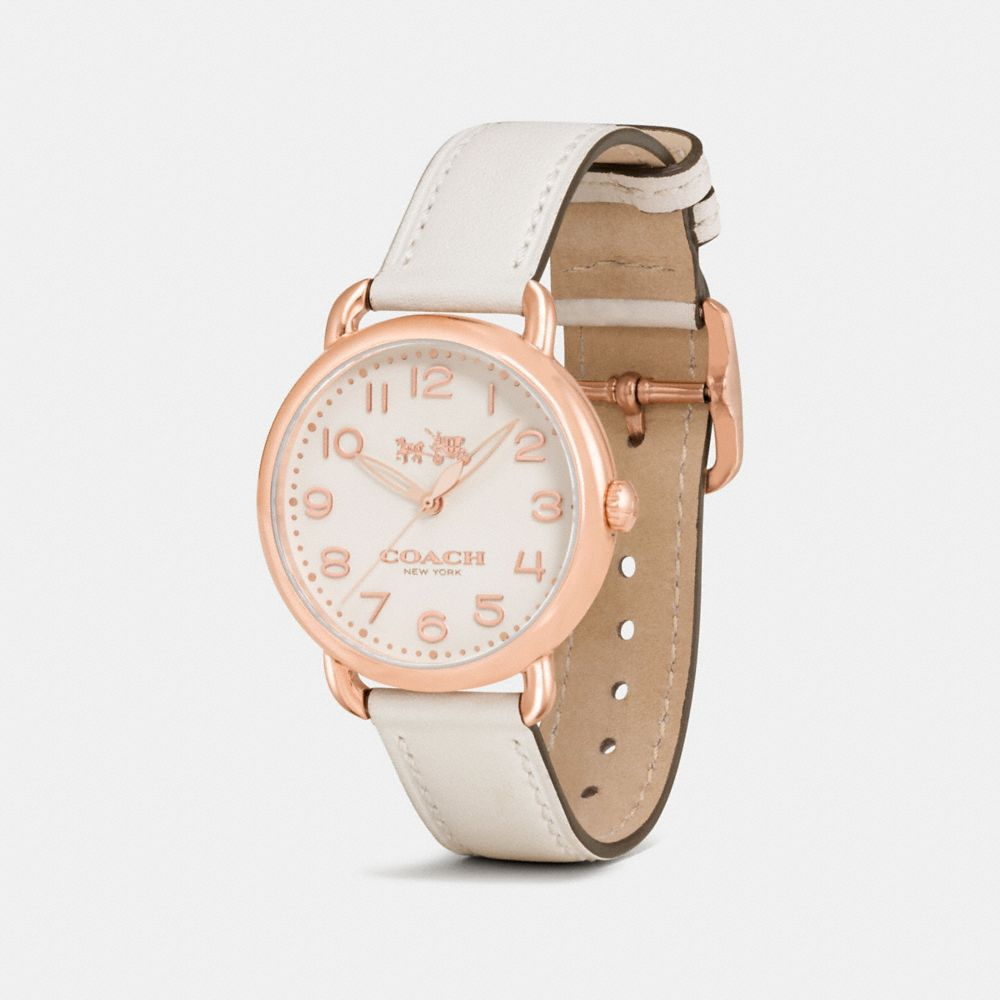 DELANCEY ROSE GOLD TONE SUNRAY DIAL LEATHER STRAP WATCH - Alternate View