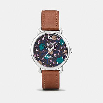 DELANCEY 花卉錶盤皮革不鏽鋼腕錶