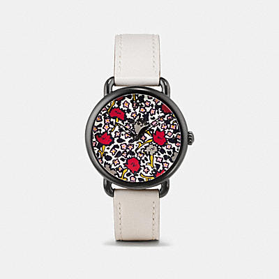 DELANCEY IONIZED PLATED FLORAL DIAL LEATHER STRAP WATCH