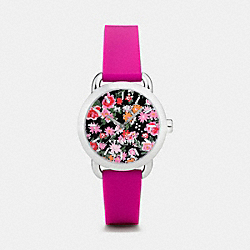 LEX STAINLESS STEEL FLORAL RUBBER STRAP WATCH - PINK - COACH W6215