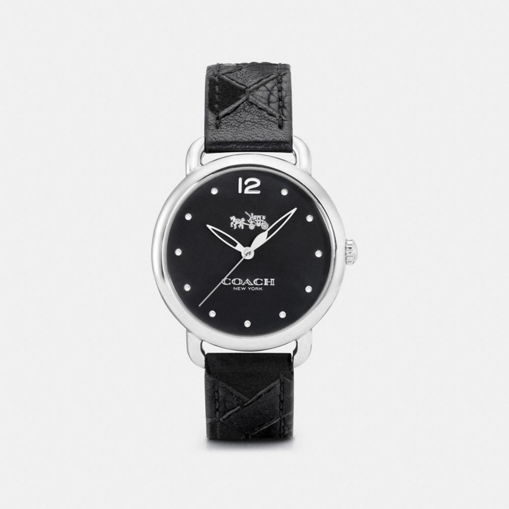 DELANCEY STAINLESS STEEL PATCHWORK LEATHER STRAP WATCH