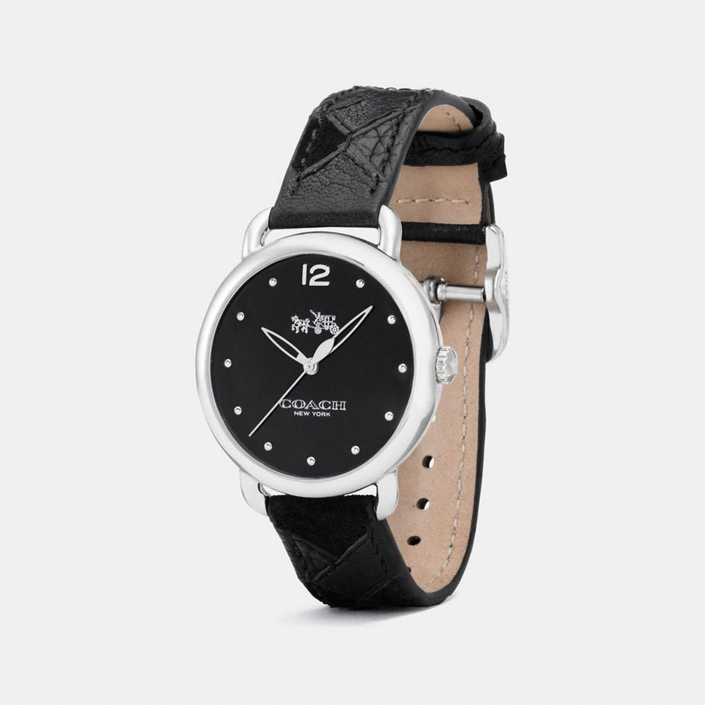 DELANCEY STAINLESS STEEL PATCHWORK LEATHER STRAP WATCH - Alternate View
