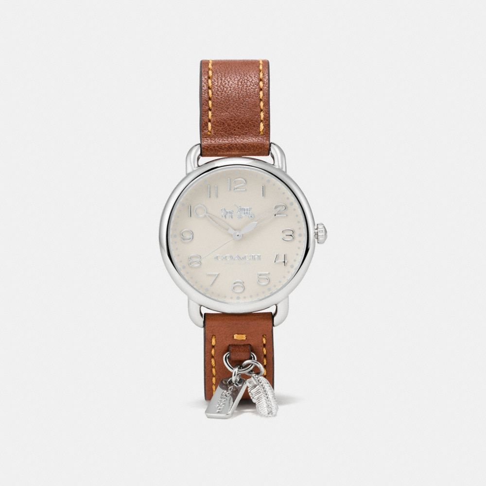 DELANCEY LEATHER STRAP WATCH WITH FEATHER CHARM - Alternate View