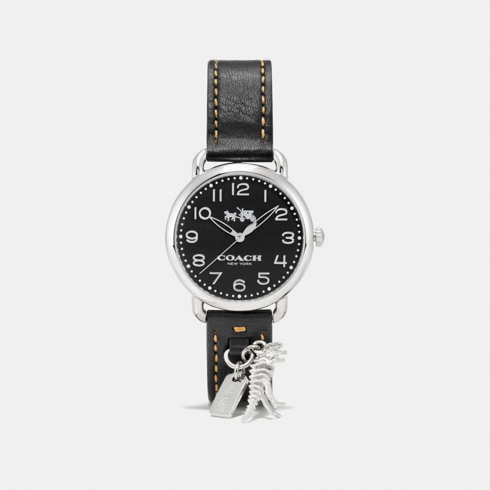 DELANCEY  LEATHER STRAP WATCH WITH REXY CHARM