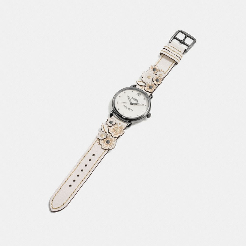 DELANCEY LEATHER STRAP WATCH WITH FLORAL APPLIQUE - Alternate View