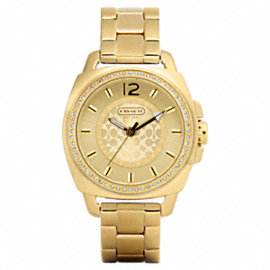 COACH BOYFRIEND CRYSTAL BEZEL BRACELET WATCH
