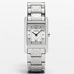 CARLISLE STAINLESS STEEL ETCHED BRACELET WATCH COACH W951