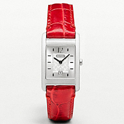 COACH CARLISLE STAINLESS STEEL STRAP WATCH - RED - W955