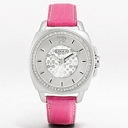 COACH BOYFRIEND CRYSTAL BEZEL FAUX EXOTIC STRAP - ONE COLOR - W980