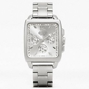 COACH BOYFRIEND SQUARE STAINLESS STEEL BRACELET WATCH