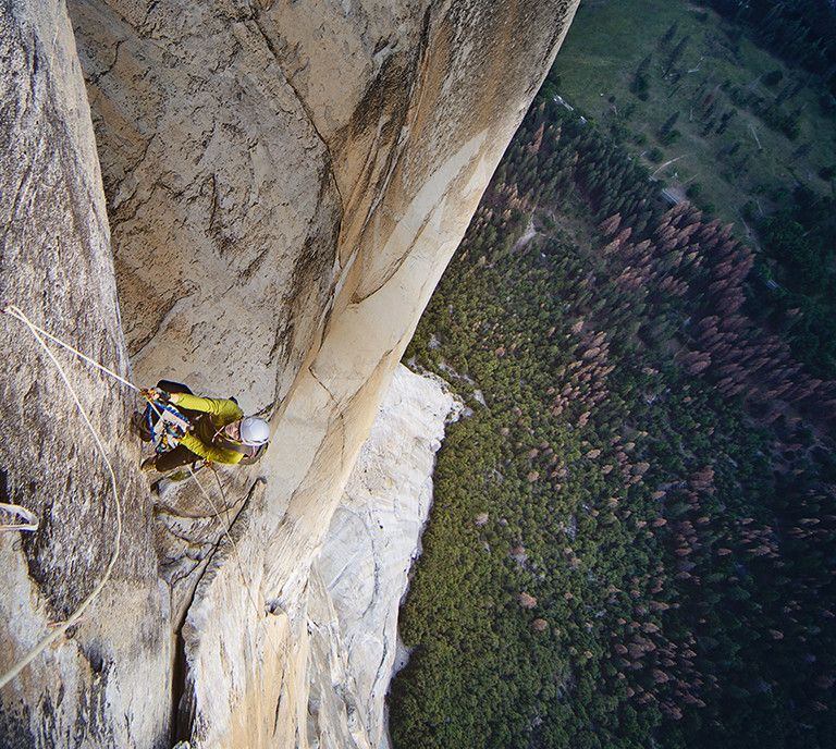 Man rock climbing in Yosemite.