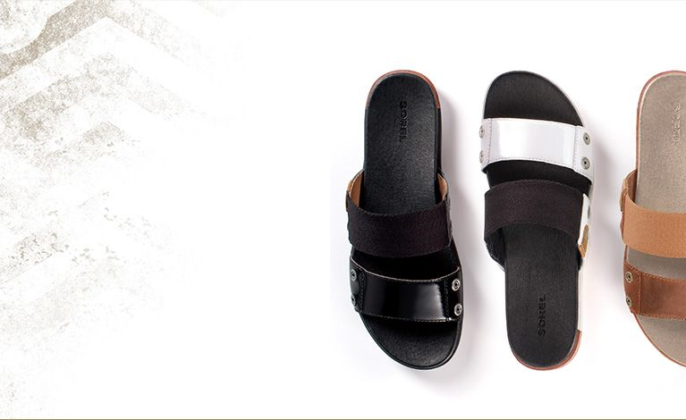 Three top-down views of Torpeda Slide mule sandals