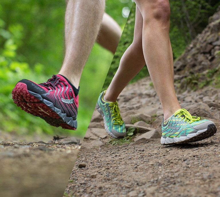 A man and a woman running on trails – feet, shoes, and lower legs.