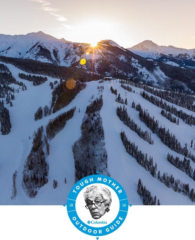 Tough Mother Outdoor Guide. Ski runs at sunset.