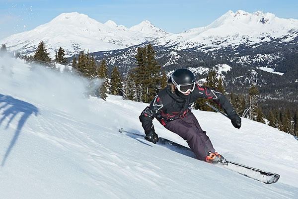 skiing on a bluebird day.