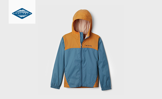 A blue and gold boys Glennaker rain jacket. Omni-Tech logo.