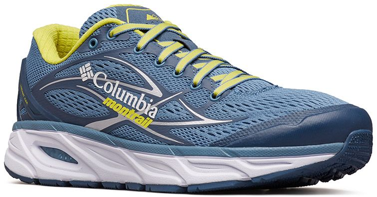 Close-up of a Columbia Montrail X.S.R. trail running shoe.