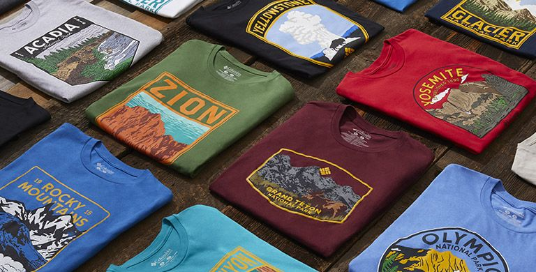 Assorted national park t-shirts.