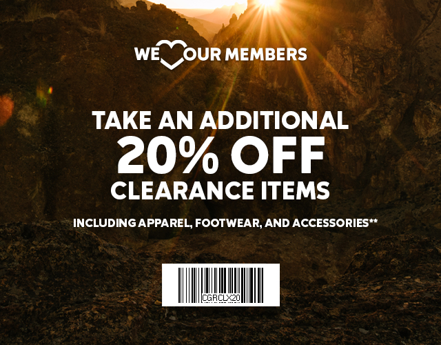 We heart our members. Take an additional 20 percent off clearance items, including apparel, footwear, and accessories.