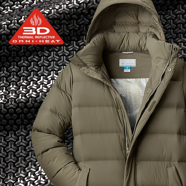 Close-up of Omni-Heat 3D pattern and a jacket with the technology.
