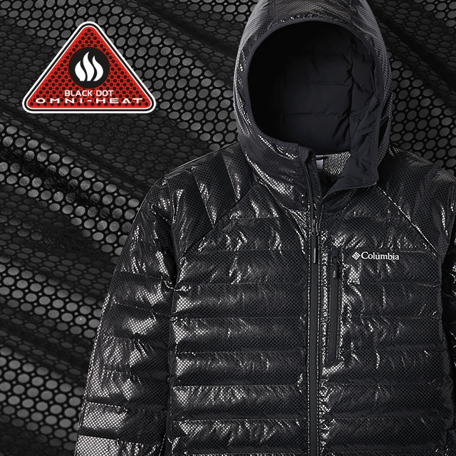 Close-up of Omni-Heat Black Dot pattern and a jacket with the technology.