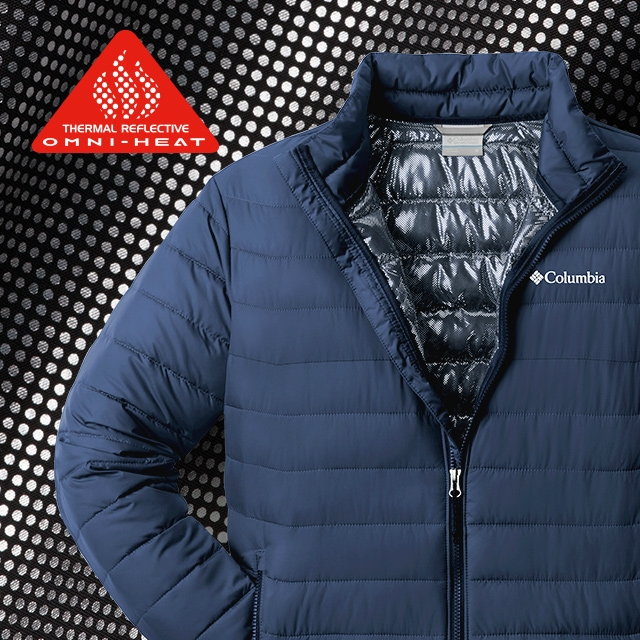 Close-up of Omni-Heat Reflective pattern and a jacket with the technology.