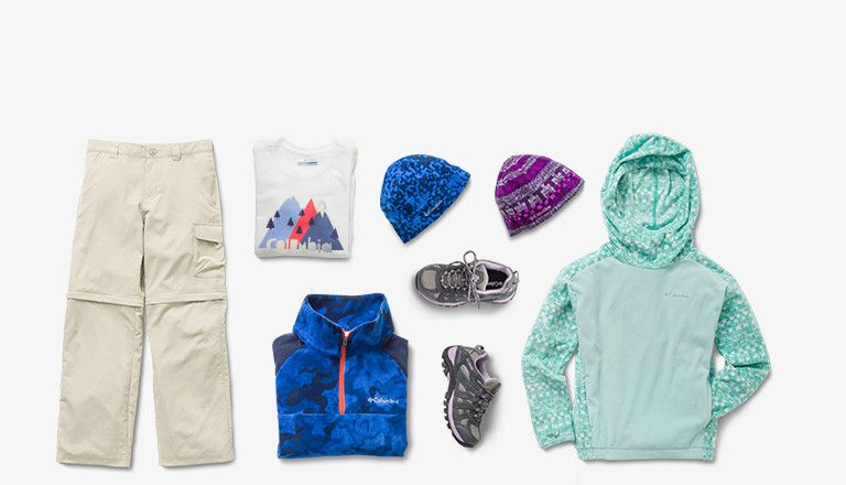 Images of pants, shirts, jackets, shoes and hats for boys and girls.