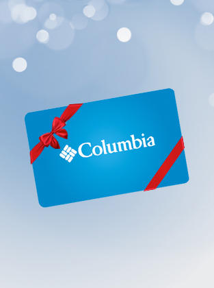 A light blue background with a Columbia gift card with a red bow.