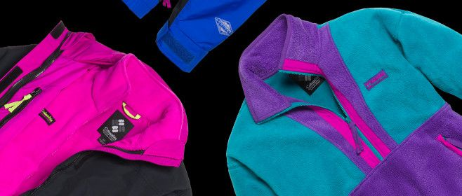 Cropped images of fleece and other apparel items