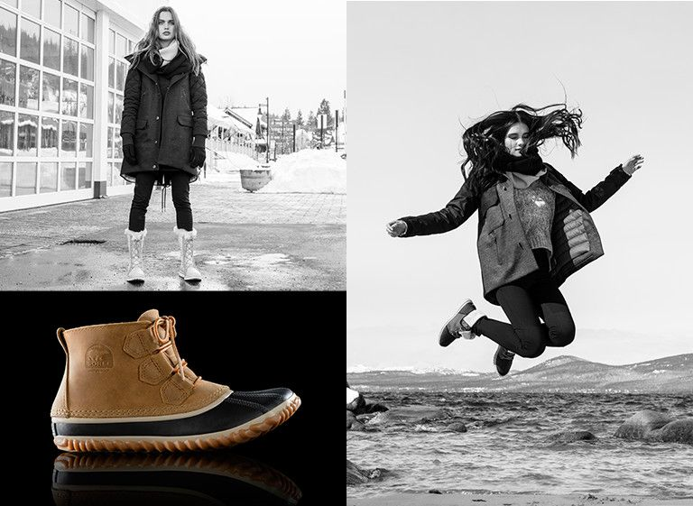 Image of a girl standing on a wet street in the Cozy Cate; image of the Out N About in Elk; Image of a girl jumping on the shore in the Cozy 1964
