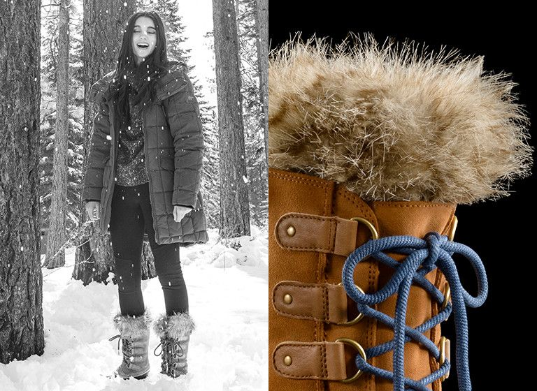 Image of a girl in a snowy forest in the Joan of Arctic boot beside a detail shot of the fur on the top of the boot