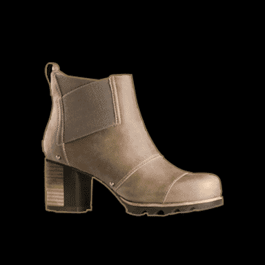 Grey heeled boot on black background.