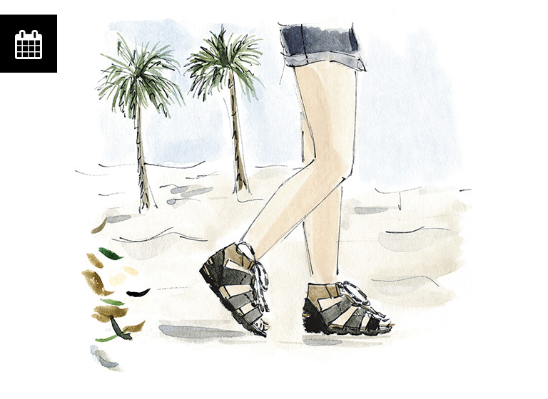 Illustration of sandals on a beach.