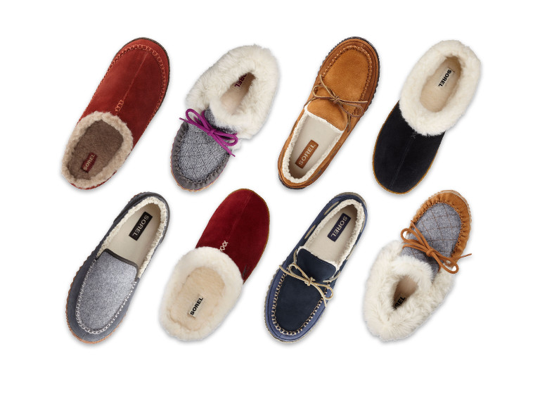 A collection of eight slippers.