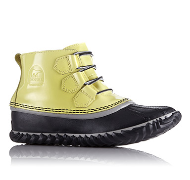 Patent leather duck boot with yellow upper and black shell on white background.