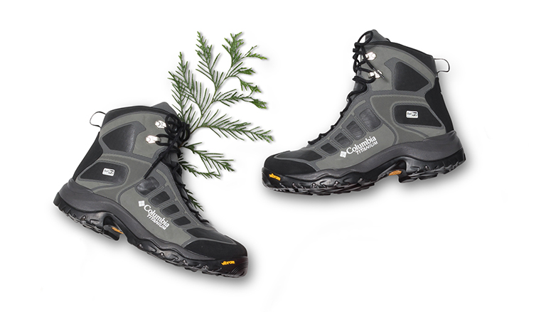 Hiking boots with a sprig of fern.