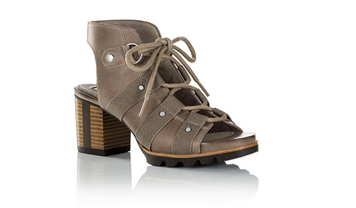 Sandal with stacked heel.