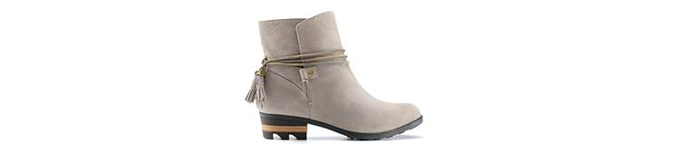 Profile view of ankle boots.