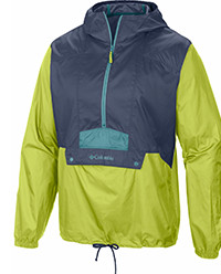 Men's Flashback Windbreaker Pullover Jacket in gray, green, and yellow.