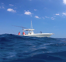 Water-level view of the Marc VI boat.