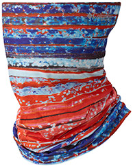 Freezer Zero Neck Gaiter in red, white, and blue.