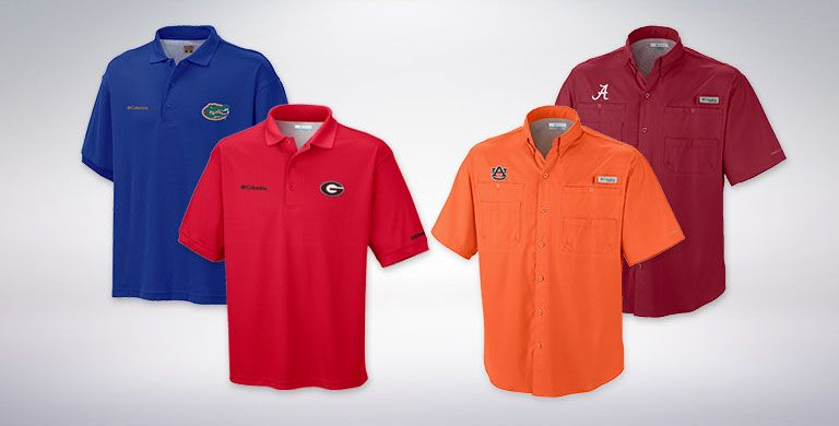 Blue, red, orange, and maroon collegiate shirts.