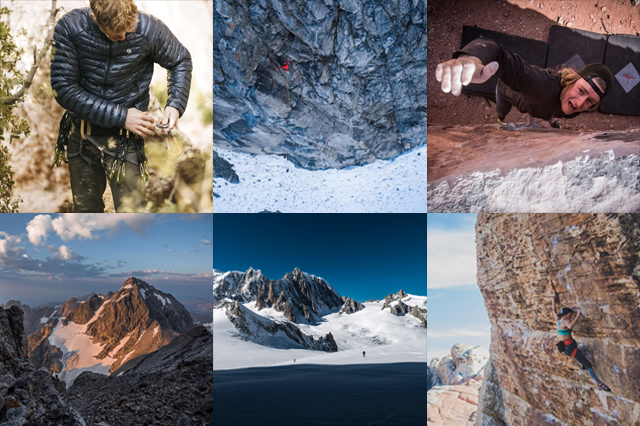 Tiled imagery of different outdoor adventures and adventurers.